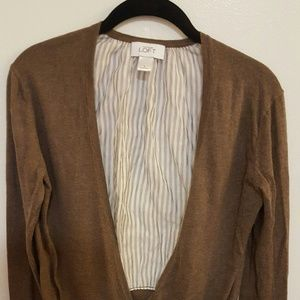 Long Sleeve Brown Cardigan with Pinstripe Back